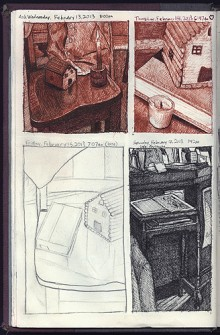 Sketchbook page showing four daily drawings.