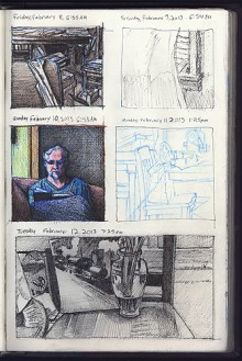 Sketchbook drawings showing five daily drawings.
