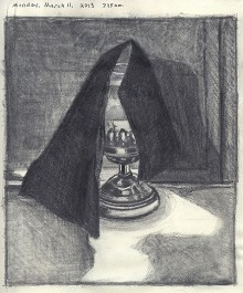 Daily sketchbook drawing (black cloth over lantern).